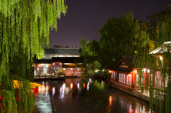 Qinhuai river boat in night view Royalty Free Stock Photography