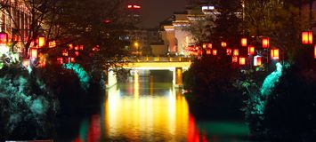 Qinhuai river and bridge at night Royalty Free Stock Image