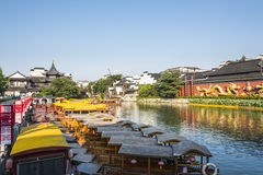Qinhuai river houseboat and dragon wall Stock Image
