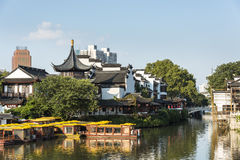 Qinhuai river houseboat and Kuiguang palace Stock Images