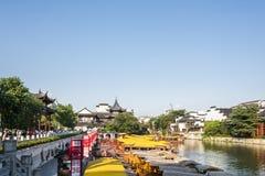 Qinhuai river houseboat and Kuiguang palace Royalty Free Stock Photo