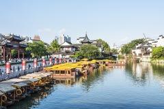 Qinhuai river houseboat and Kuiguang palace Royalty Free Stock Image