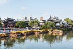 Qinhuai river houseboat and Kuiguang palace Stock Photography