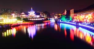 Qinhuai river at night Stock Image