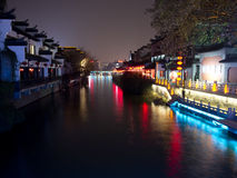 Qinhuai river. Night view of Qinhuai river Stock Images