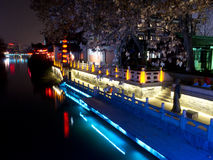 Qinhuai river. Night view of Qinhuai river Stock Photos