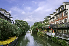 Qinhuaihe river and storied buildings Stock Photography