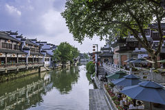 Qinhuaihe river and storied buildings stock images