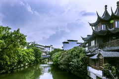 Qinhuaihe river and storied buildings Royalty Free Stock Image