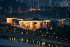 Qintai Grand Theatre Opera house aerial night view in Wuhan Chin stock image