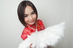 Qipao Chinese Girl in Casual Style. A girl is posing on a casual relax style wearing Chinese qipao Stock Image