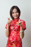 Qipao Chinese Girl in Casual Style Stock Photo