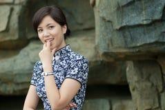 Qipao woman elegant smile Stock Photo