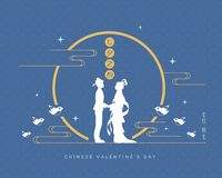 Qixifestival of van de Chinese valentijnskaart dag - cowherd & weversmeisje royalty-vrije illustratie