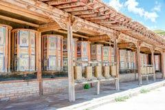 QLIAN, CHINA - Jul 3 2014: Mani wheel at A rig Monastery(Arou Da Stock Images