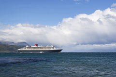 QM2 anchored in Beagle Channel Royalty Free Stock Photo