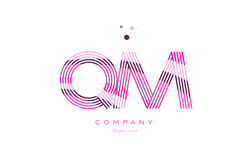 Qm q m alphabet letter logo pink purple line icon template vecto Royalty Free Stock Photos