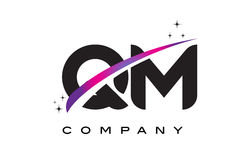 QM Q M Black Letter Logo Design with Purple Magenta Swoosh Stock Image