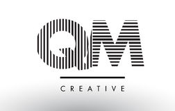 QM Q M Black and White Lines Letter Logo Design. Stock Photography
