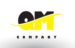 QM Q M Black and Yellow Letter Logo with Swoosh. Stock Images