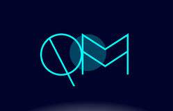 Qm q m blue line circle alphabet letter logo icon template vecto Stock Image