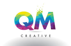 QM Q M Colorful Letter Origami Triangles Design Vector. Royalty Free Stock Photo