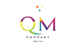 Qm q m  creative rainbow colors alphabet letter logo icon Royalty Free Stock Image