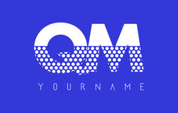 QM Q M Dotted Letter Logo Design with Blue Background. Stock Photo
