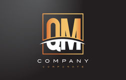 QM Q M Golden Letter Logo Design with Gold Square and Swoosh. Royalty Free Stock Photo