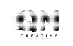 QM Q M Letter Logo with Black Dots and Trails. Stock Photography