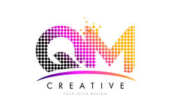 QM Q M Letter Logo Design with Magenta Dots and Swoosh Royalty Free Stock Images