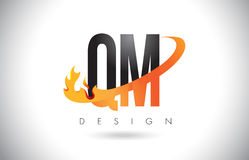 QM Q M Letter Logo with Fire Flames Design and Orange Swoosh. Stock Photography