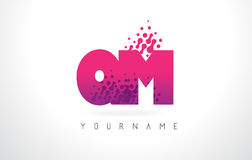 QM Q M Letter Logo with Pink Purple Color and Particles Dots Des Stock Photo
