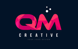 QM Q M Letter Logo with Purple Low Poly Pink Triangles Concept Stock Image