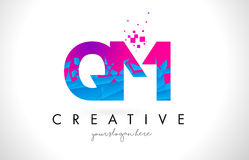 QM Q M Letter Logo with Shattered Broken Blue Pink Texture Desig Royalty Free Stock Image