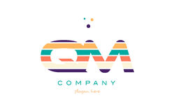 Qm q m line stripes pastel color alphabet letter logo icon templ Royalty Free Stock Photography