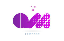 Qm q m pink dots letter logo alphabet icon Royalty Free Stock Images