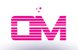 Qm q m pink purple line stripe alphabet letter logo vector templ Royalty Free Stock Photos
