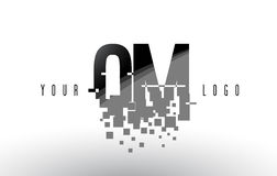 QM Q M Pixel Letter Logo with Digital Shattered Black Squares Royalty Free Stock Image