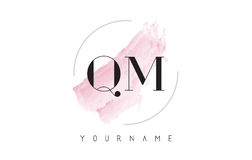 QM Q M Watercolor Letter Logo Design with Circular Brush Pattern Royalty Free Stock Photography
