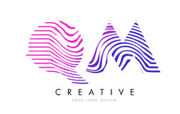 QM Q M Zebra Lines Letter Logo Design with Magenta Colors Royalty Free Stock Photo