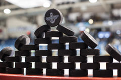 QMJHL Memorial Cup Pucks Stock Images