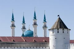 qolsharif för kazan kremlin minaretmoské Arkivfoton