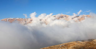 Qornet el- Sawda, Lebanon. Clouds roll into Qornet el-Sawda, at 3088m altitude, the highest point in Lebanon Royalty Free Stock Photos