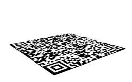 QR在白色背景隔绝的条形码贴纸, 3d例证 图库摄影