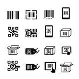 QR εικονίδια κώδικα και κώδικα φραγμών καθορισμένα Κωδικοποίηση ανίχνευσης, προσδιορισμός αυτοκόλλητων ετικεττών ελεύθερη απεικόνιση δικαιώματος