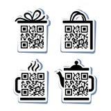 QR-κώδικας. 4 εικονίδια καθορισμένα διανυσματική απεικόνιση