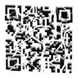 QR κώδικας που σπάζουν στα μαύρα κομμάτια που απομονώνονται Στοκ Εικόνες