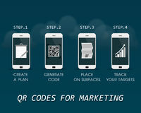 QR κώδικες για το μάρκετινγκ - τα πρώτα βήματα για να αρχίσει τους γρήγορους κώδικες απάντησης - του επιχειρησιακού infographic π Στοκ Εικόνες