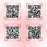 Qr кодирует образцы на теме валентинки Стоковая Фотография RF